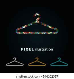 Hanger - pixel icon. Vector Illustration. Design logo element. Isolated on black background. It is easy to change to any color.