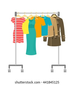 Hanger rack with male and female clothes. Flat style vector illustration. Casual garment hanging on portable rolling metal commercial stand. Everyday outfit sale concept. New fashion collection.