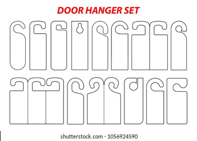 Hanger set die cut template. Empty stamp blank shablon . Vector black isolated circuit door hanger mockup. Hotel door hang tag signs. Black line hanger on white background. A leaflet, flyer for door.