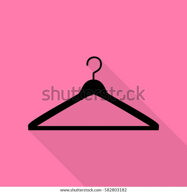 Hanger sign illustration. Black icon with flat style shadow path on pink background.
