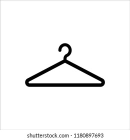 Hanger simple black icon. Wardrobe and cloakroom symbol.