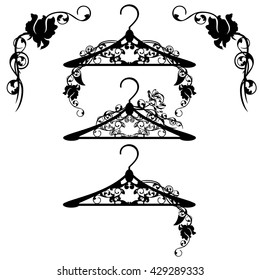 hangers among rose flowers - black and white floral vector design set