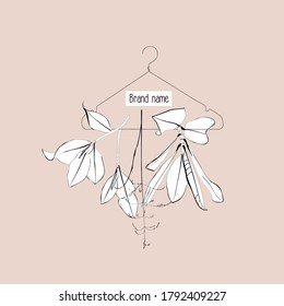 Hangers with leaves and herbs. Silhouettes of stylized floral hangers for clothes. Fashion hangers clothes. Illustration on a beige background. Logo design for clouthers.