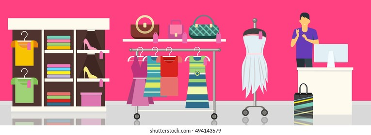 Hangers and shelves with female clothes and accessories. Female clothing store illustration. Man behind counter of store. People shopping, marketing people, customer in mall, retail store illustration