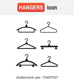Hangers vector black icons. Cloth hanger, object hanger set