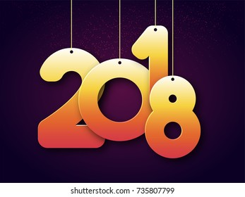 Hanging 2018 golden text on purple background for New Year celebration.