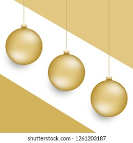 Hanging 3d style christmas ball ornaments with origami paper style background.