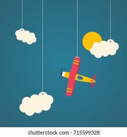 Hanging airplane with clouds and sun. Flat design illustration.