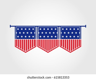 hanging American flag for interior decoration
