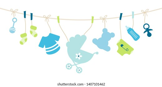 Hanging Baby Icons Boy Bow Blue And Green