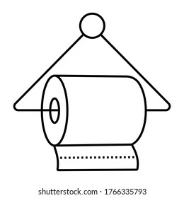 hanging a bathroom tissue / toilet paper rolls - line art icon for apps and websites