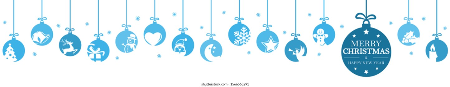 hanging baubles colored blue with different abstract icons for christmas and winter time concepts, snow flakes and greetings for christmas and New Year
