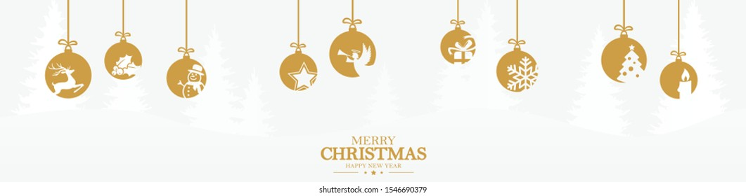 hanging baubles colored gold with different abstract icons for christmas and winter time concepts with light blue fir tree background