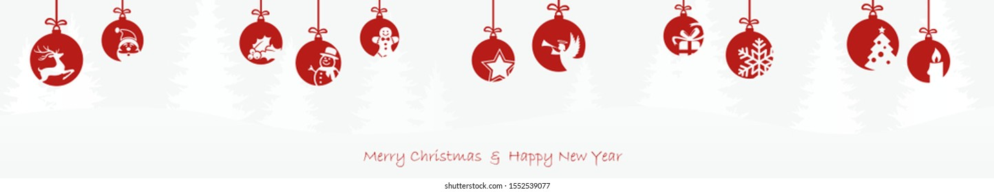 hanging baubles colored red with different abstract icons for christmas and winter time concepts with light blue fir tree background