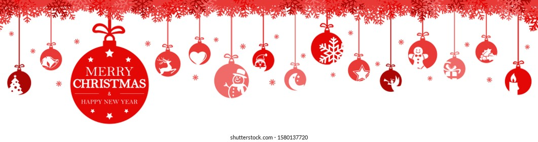 hanging baubles colored red with different abstract icons for christmas and winter time concepts, snow flakes on top side and greetings for christmas and New Year