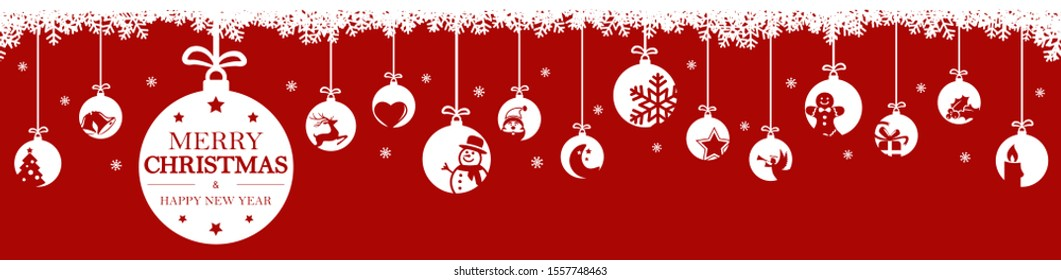 hanging baubles colored white with different abstract icons for christmas and winter time concepts, snow flakes on top side and greetings for christmas and New Year with colored background