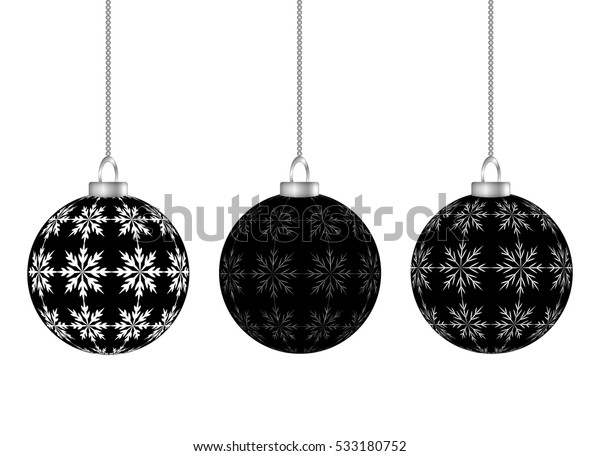Black Christmas Balls.Hanging Black Christmas Balls Snowflakes Isolated Stock Vector