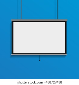 Hanging blank projector screen empty conference display on blue background eps 10 vector