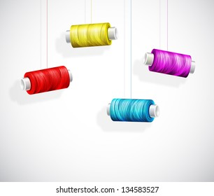 Hanging bobbins of colorful thread. Eps 10