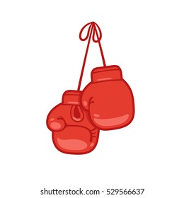 Hanging boxing gloves cartoon vector illustration.