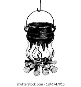 Hanging cast iron cauldron on the campfire with firewood. The process of cooking. Vector illustration, sketch.