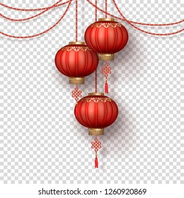 Hanging Chinese silk lanterns for Happy New Year on transparent background. Decoration items for the festive compositions