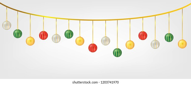 Hanging Chirstmas Balls Isolated in White Background. Element for Christmas and Happy New Year Vector Design.