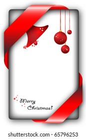 Hanging Christmas balls on a greeting card with space for text and ribbon