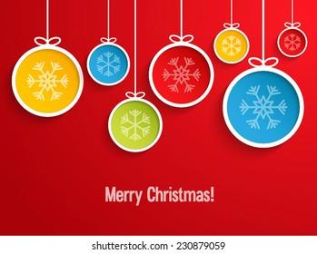 Hanging Christmas balls. Vector illustration.