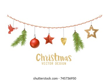 Hanging Christmas decorations composition with fir tree branches, wooden stars and xmas baubles. Vector illustration