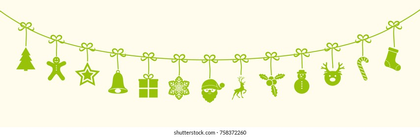 Hanging Christmas icons - banner. Vector.