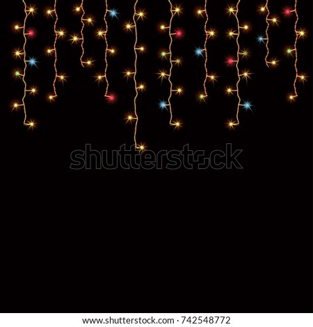 hanging christmas lights led curtain decorating for the holiday season vector illustration isolated