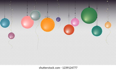 Hanging Christmas ornaments and light garlands. Vector graphic with gradient and transparency background.