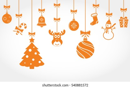 Hanging Christmas ornaments. Vector background.