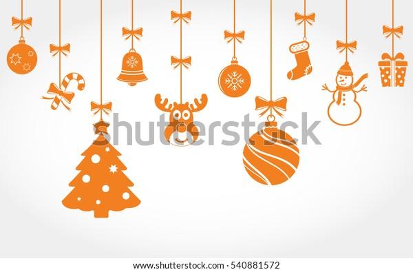 Christmas Ornaments Vector.Hanging Christmas Ornaments Vector Background Stock Vector