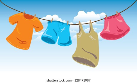 hanging clothes on washing line