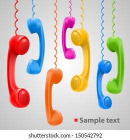 Hanging colored handsets, Phone color set, template design element, Vector illustration