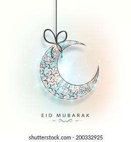 Hanging colourful crescent moon for muslim community festival Eid Mubarak celebrations.
