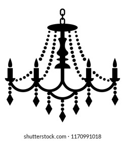 Hanging crystal chandelier icon