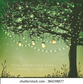 Hanging decorative holiday lights for a back yard party. Garden party invitation.  Inspiration card for wedding, date, birthday, tea party
