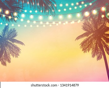 Hanging decorative holiday lights for a beach party invitation. Inspiration card for wedding, date, birthday