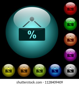 hanging discount table icons in color illuminated spherical glass buttons on black background. Can be used to black or dark templates