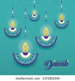 Hanging diya (india oil lamp) in flat vector style isolated on turquoise background. Diwali or Deepavali greeting card. (caption: Festival of lights)