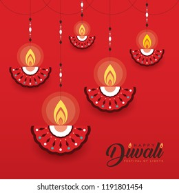 Hanging diya (india oil lamp) in flat vector style isolated on red background. Diwali or Deepavali greeting card. (caption: Festival of lights)