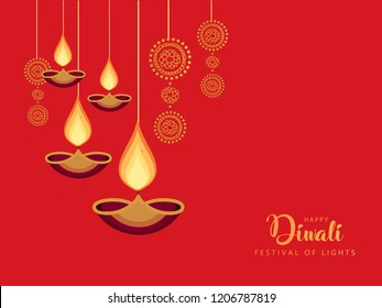 Hanging Diyas for Indian Festival Diwali on Traditional Pattern. Happy Diwali.