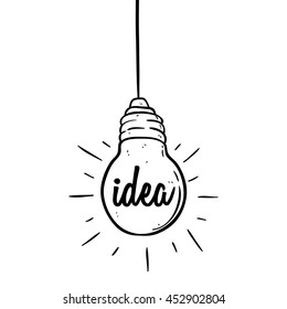 Hanging doodle light bulb idea concept on white background