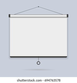 Hanging empty projection screen on the wall background icon. Template presentation board, blank whiteboard for conference and projects. Vector illustration