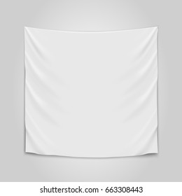 Hanging empty white cloth. Blank flag concept. Vector illustration.