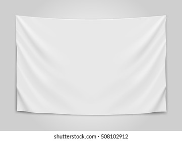 Hanging empty white flag. Blank flag concept. Vector illustration.