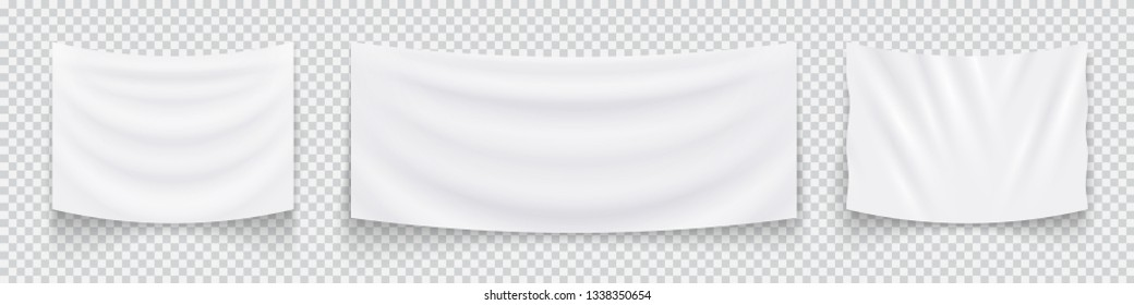 Hanging empty white flags, set of white textile banners. Blank flag template. Vector illustration.-- Vector